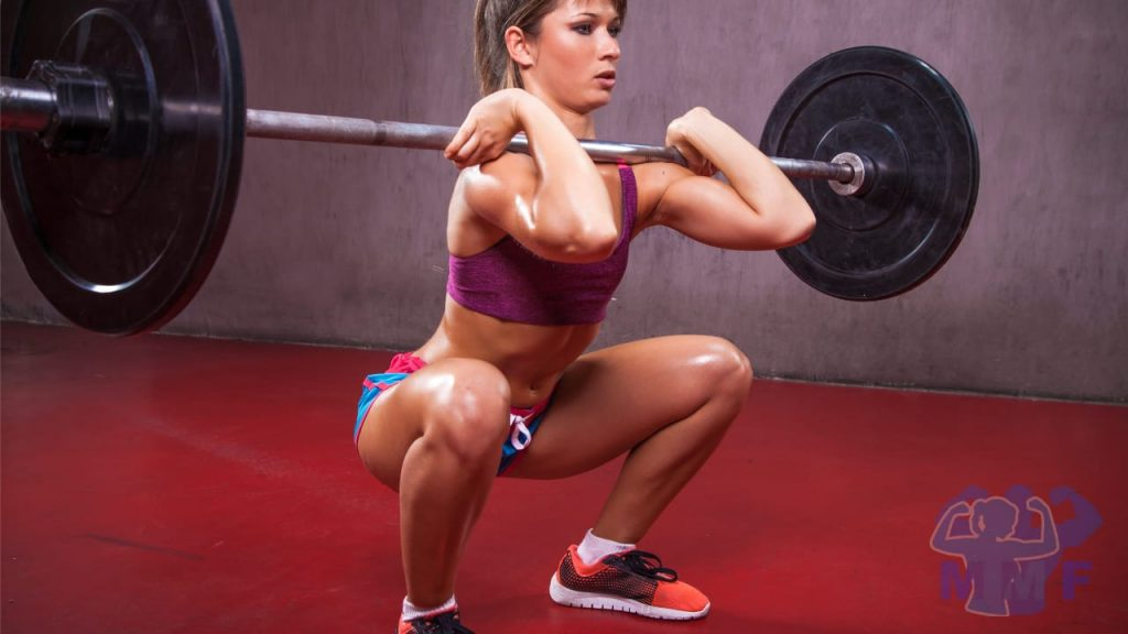 Fit Woman Performing Front Squats for the benefits of front squats.