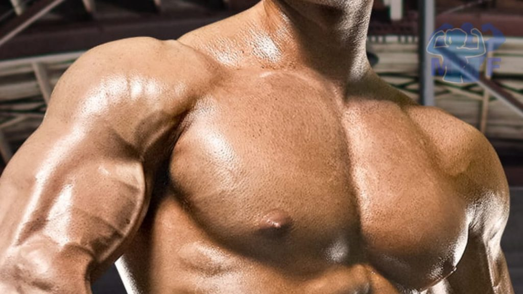 Chest workout routine for mass, bodybuilder with large defined chest.