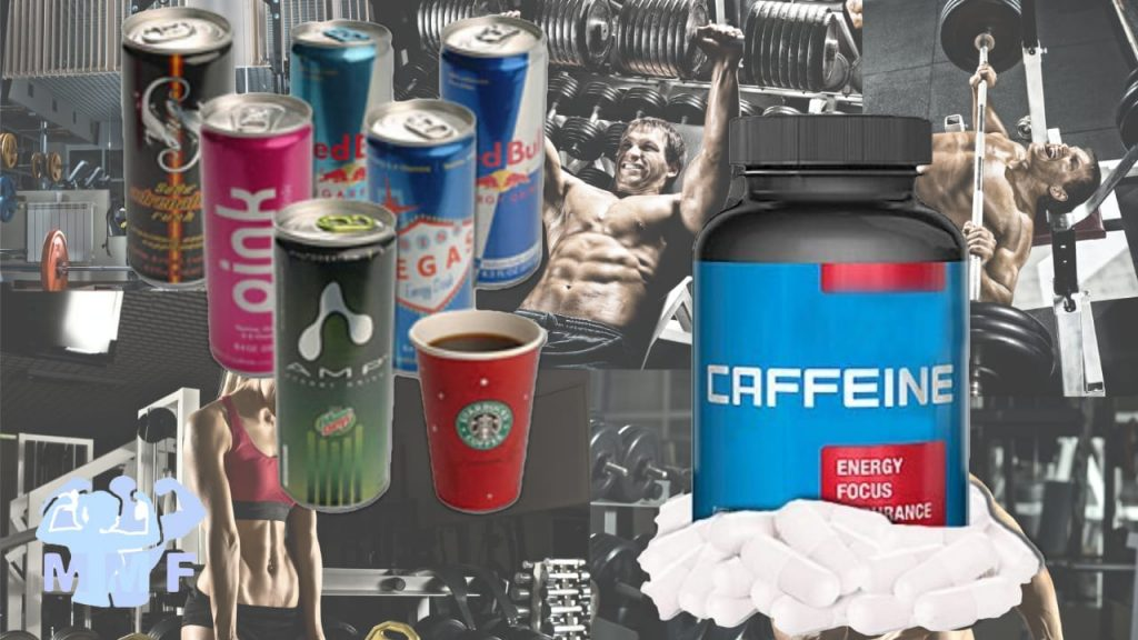 Cans of energy drinks and bottle of caffeine to improve workout performance.