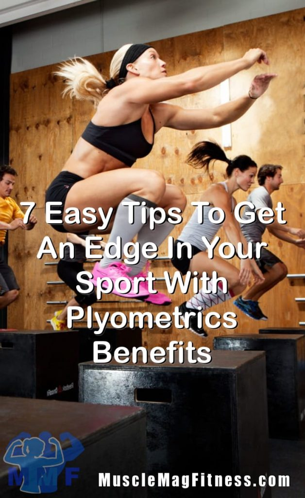 Pin Image Of Fit Men and Women Doing Box Jumps In A Workout Class Getting An Edge In Sports With Plyometrics Benefits.