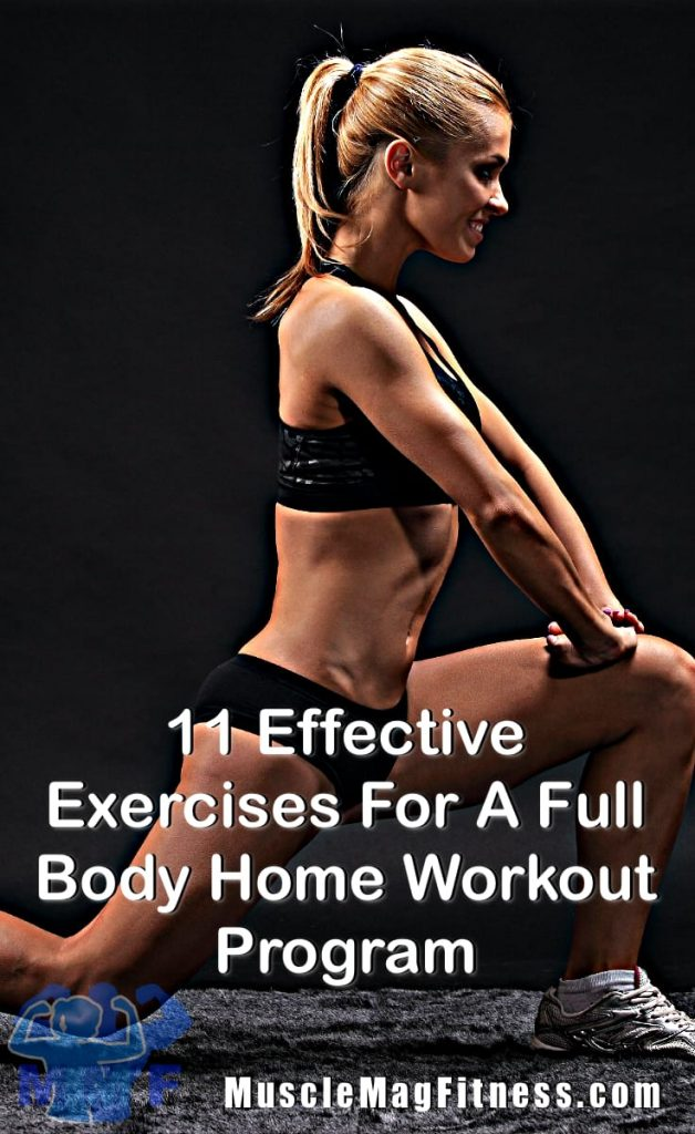 Pin fit woman performing lunges for Effective Exercises For A Full Body Home Workout Program