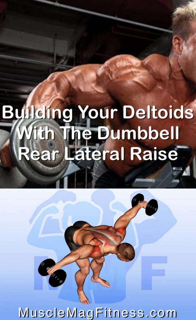 Pin Image of Man doing rear lateral raises with dumbbells