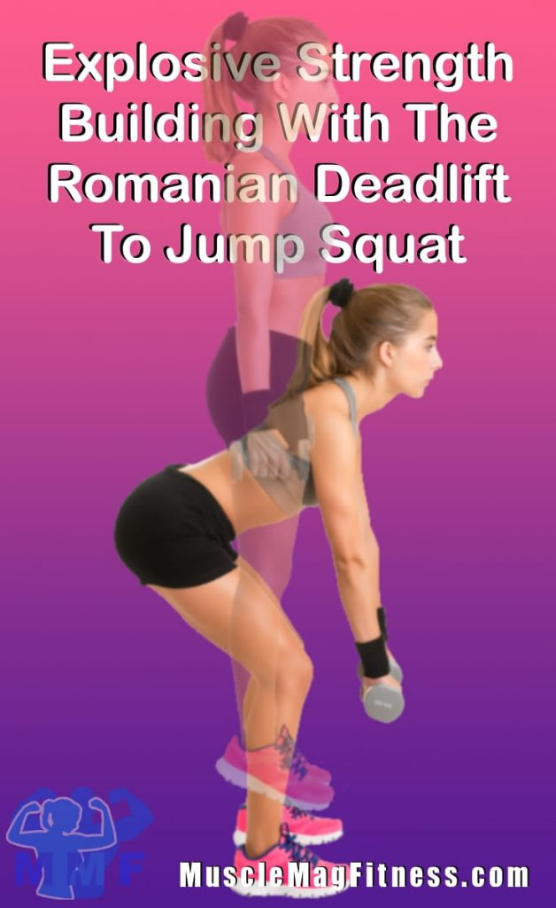 Pin of fit woman performing Romanian deadlift to jump squats with dumbbells in her hands.