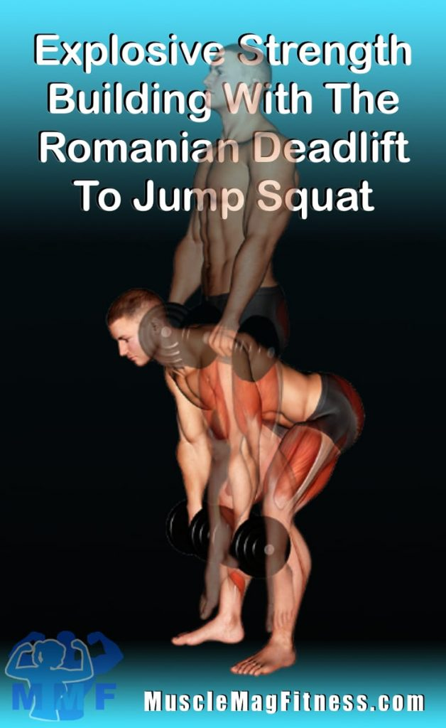 Pin of muscular man performing Romanian deadlift to jump squats with dumbbells in her hands.