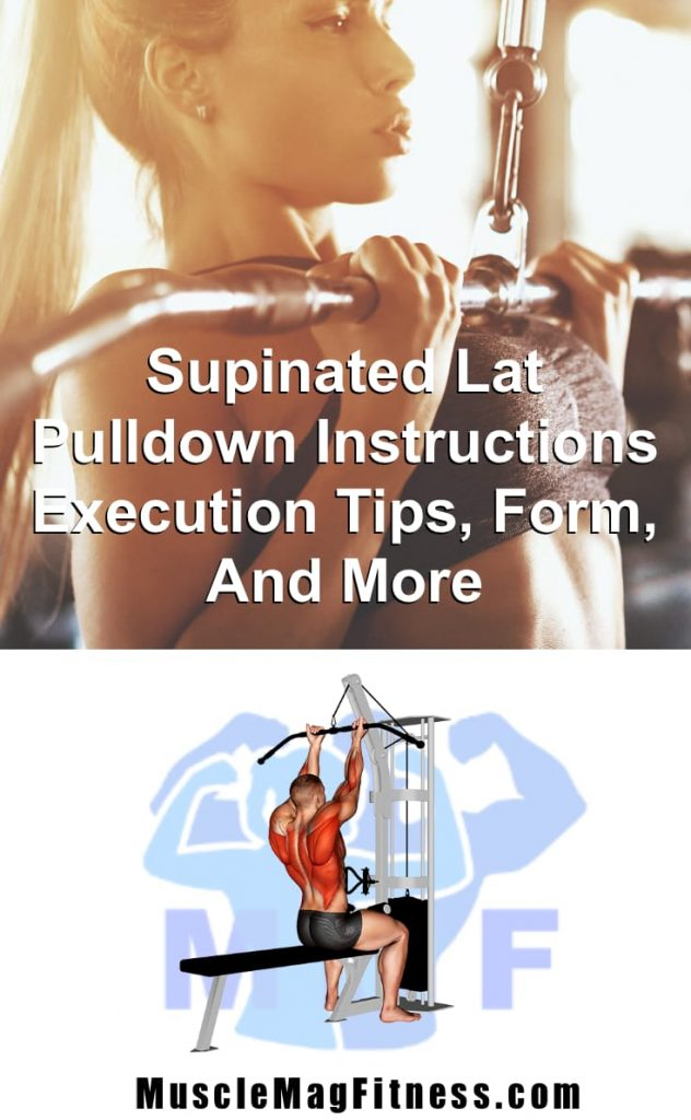 Pin image of fit woman performing supinated lat pulldowns for a sexy back.