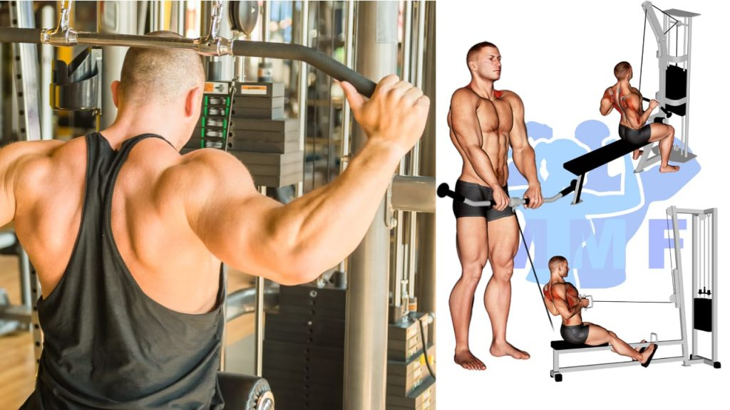 Man performing cable pulldowns behind his head as part of a back workout with cables only. 3 cable back exercises are demonstrated by men in graphics on the right of the images.