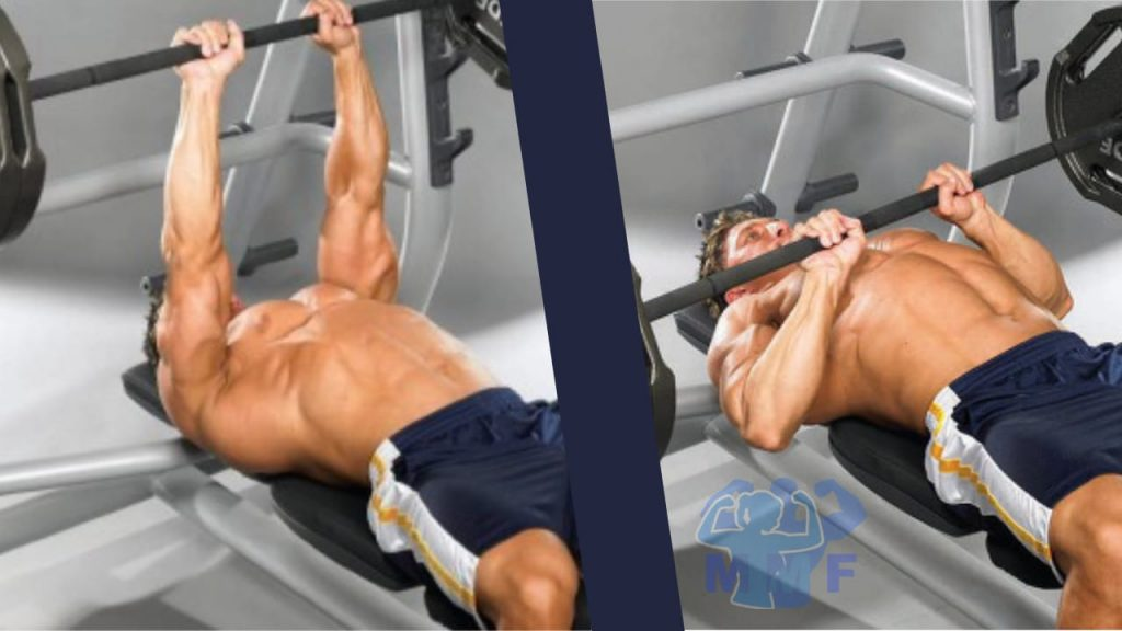 Man performing narrow grip bench press for strong triceps.