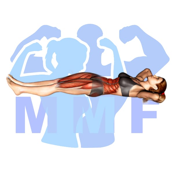 Woman performing lying pelvic tilt with MuscleMagFitness logo background.