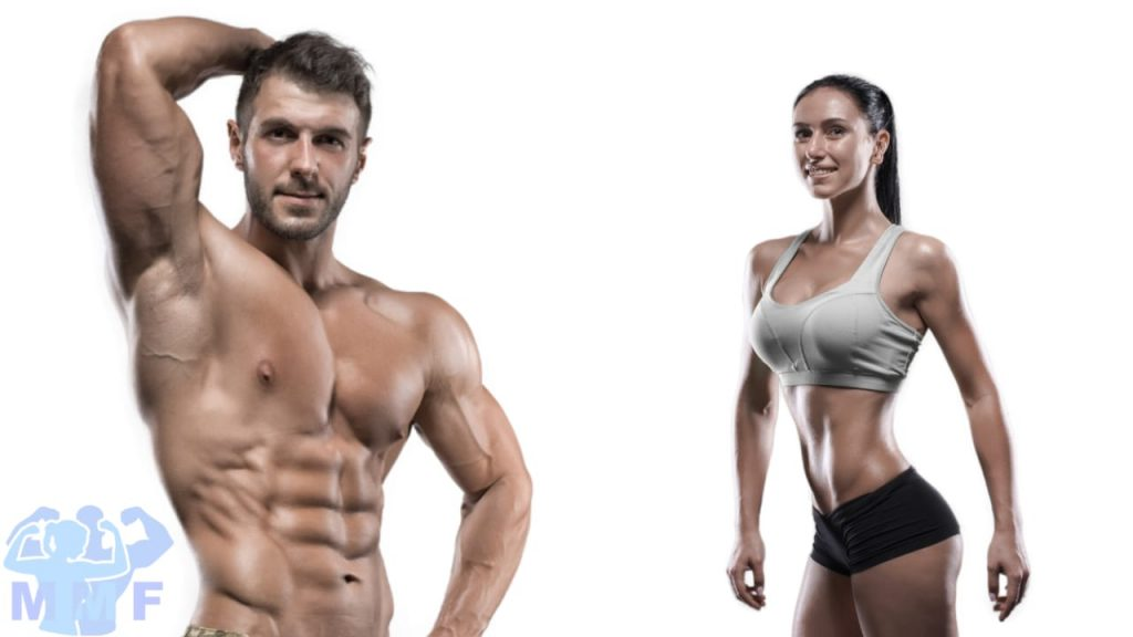 Fit man and Woman fitness models, physique modeling with white background.