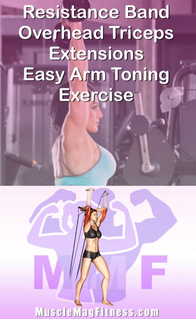 Pin Image Of Woman Performing Resistance Band Overhead Triceps Extensions Easy Arm Toning Exercise