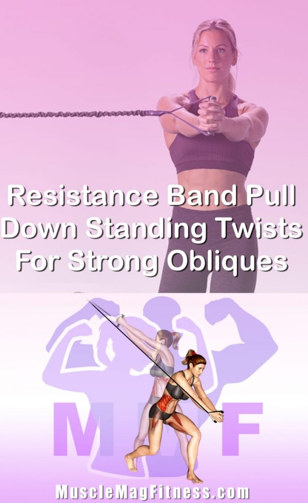 Pin Image Of Woman Performing Resistance Band Pull Down Standing Twists For Strong Obliques