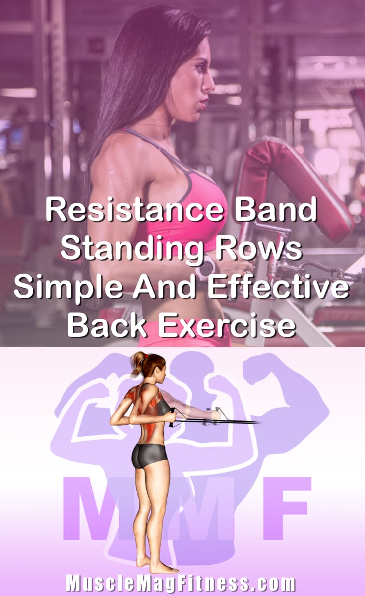 Pin Image Of Woman Performing Resistance Band Standing Rows Simple And Effective Back Exercise