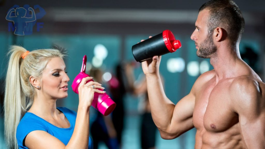 Fit shirtless man and woman about to take a drink of out of protein mixers, questioning if their protein is toxic.